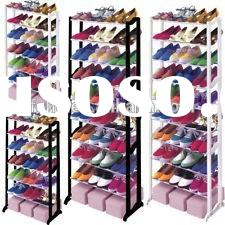Promotional Household creative fashion shoe racks for closets plastic cubby shoe rack with metal