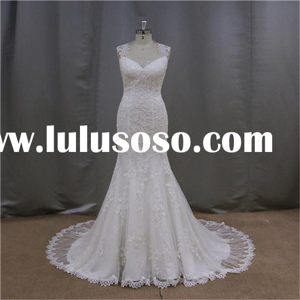 Stunning Cap Sleeves white lace ostrich feather wedding dress