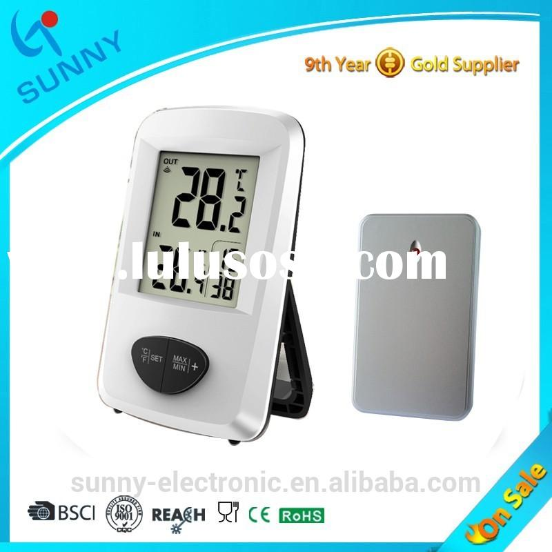 Sunny Hot Sale 433MHZ Wireless Indoor&Outdoor Temperature Room Digital Thermometer With Time Dis