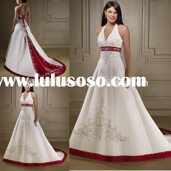 2015 Wedding Gowns A Line Halter Beaded Embroidery Satin Red And White Wedding Dresses