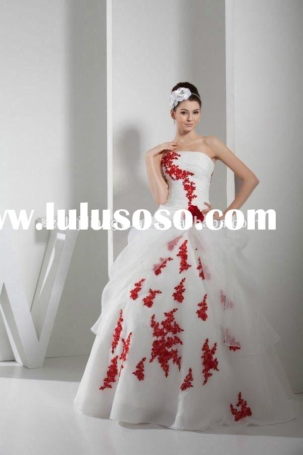 SJ1850 can custom made high quality organza appliqued bead ball gown white and red wedding dress