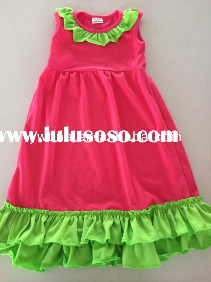 2014new many colors baby dress ruffle summer girls dress cotton toddler princess clothes for lovely