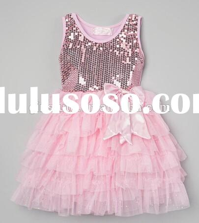 2015 New Top Quality Baby GIrl Sequin Dress Fashion Shiny Sleeveless Princess Dresses For Beach Part