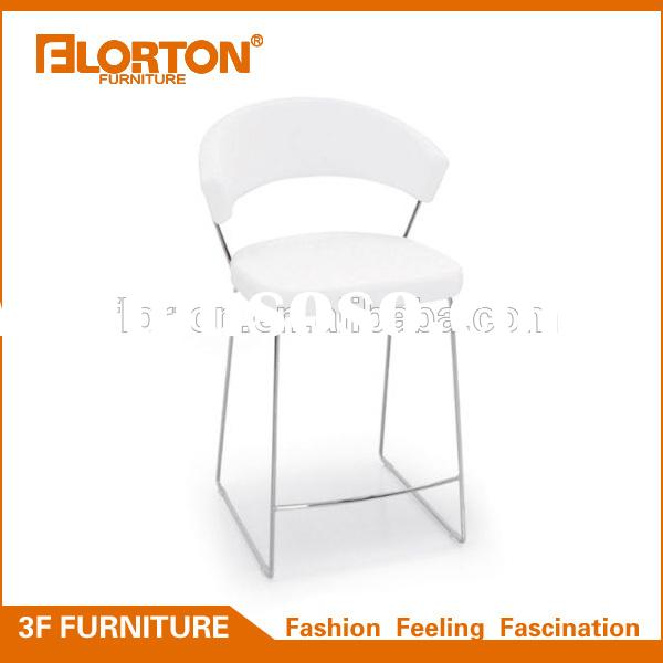 Chrome steel frame modern white leather bar stool