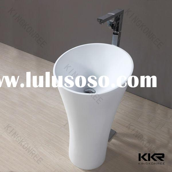 Small pedestal stone sinks / solid surface bathroom sinks