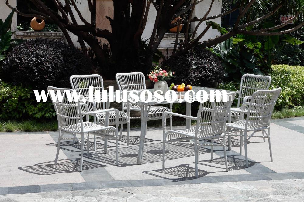 plastic rattan wicker white dining chair and table, patio garden outdoor dining set, bistro restaura