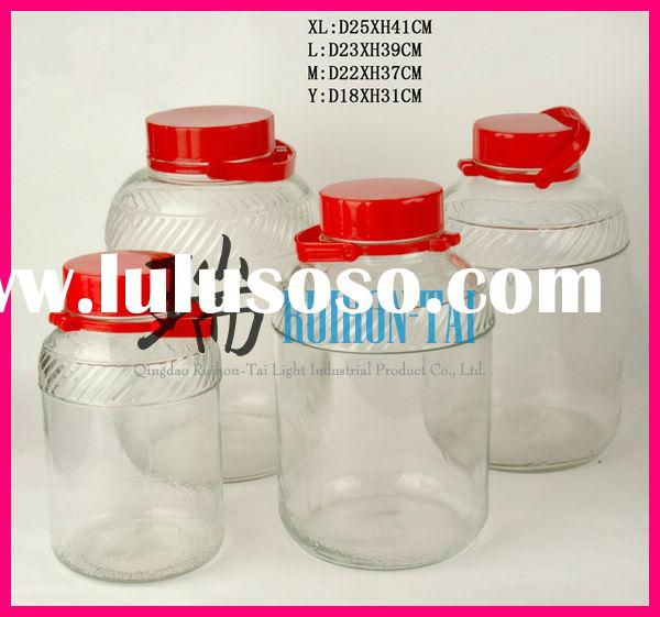 High quality clear glass big jars with plastic lids(No.2889)