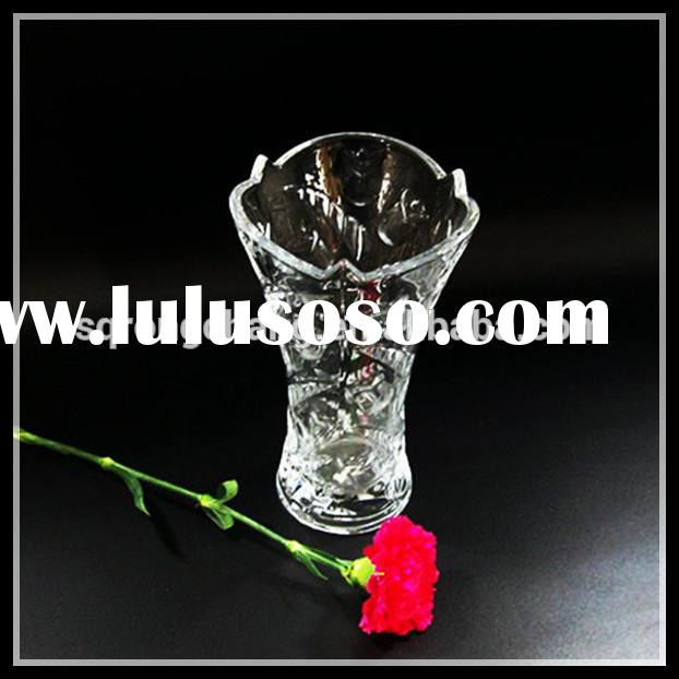 low-price clear glass material flower vase for wedding centerpieces or home decoration
