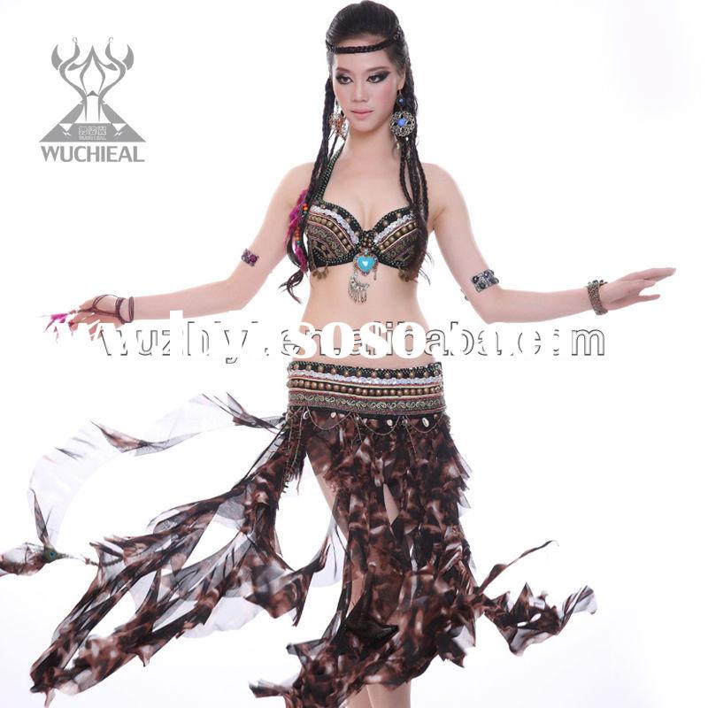 tribal Belly Dance costumes, newest Indian Belly dance tribal costumes with Bra belt and skirt fulls