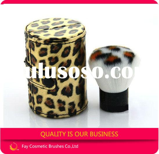 Brush dispenser powder with leopard print makeup brush case